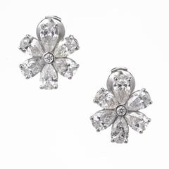 Peter Suchy Pear Shape Diamond Platinum Cluster Earrings