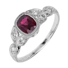GIA Certified Art Deco 1.11 Carat Red Ruby Diamond Platinum Engagement Ring
