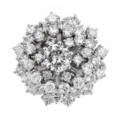 EGL Certified 2.85 Carat Diamond Dome Gold Cluster Cocktail Ring
