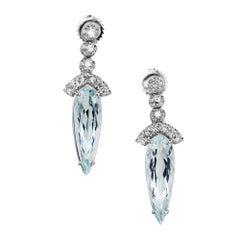 10.00 Carat Pear Shaped Aquamarine Diamond Gold Dangle Drop Earrings