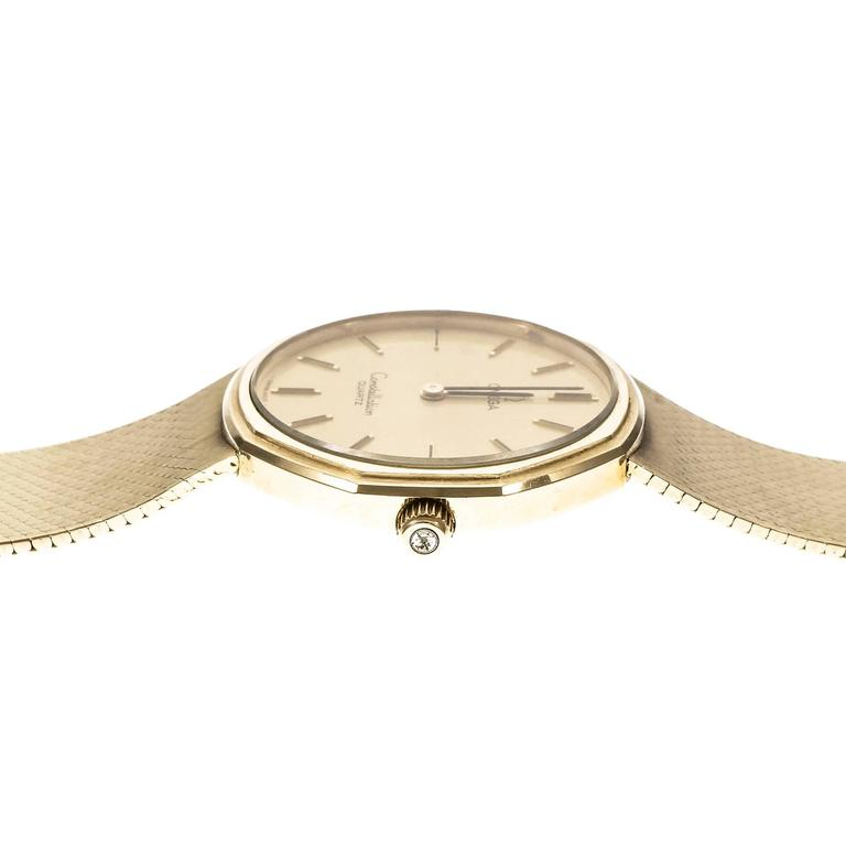 Omega Yellow Gold Constellation Mesh Band Quartz Wristwatch In Good Condition For Sale In Stamford, CT