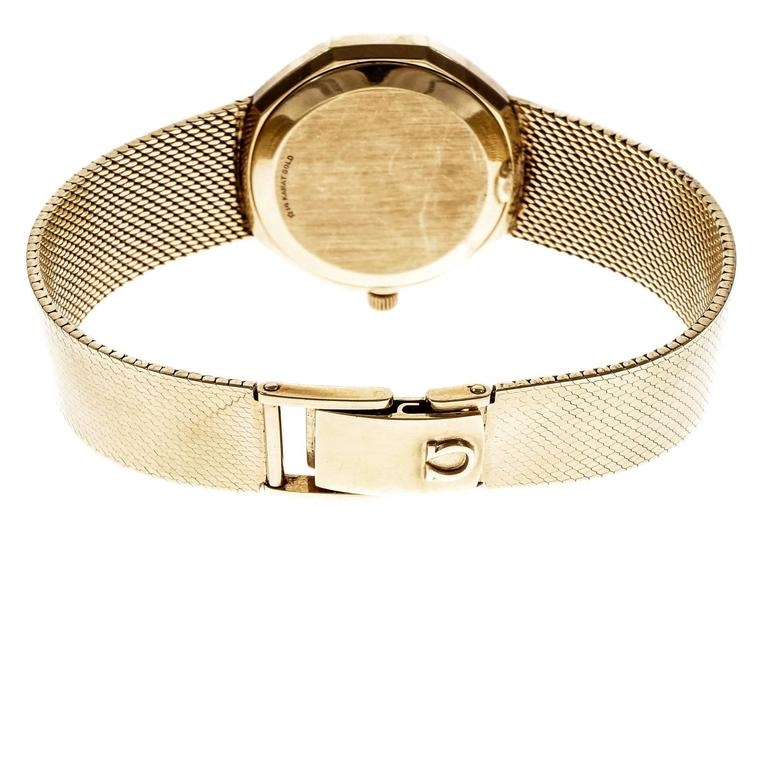 Omega Yellow Gold Constellation Mesh Band Quartz Wristwatch For Sale 2