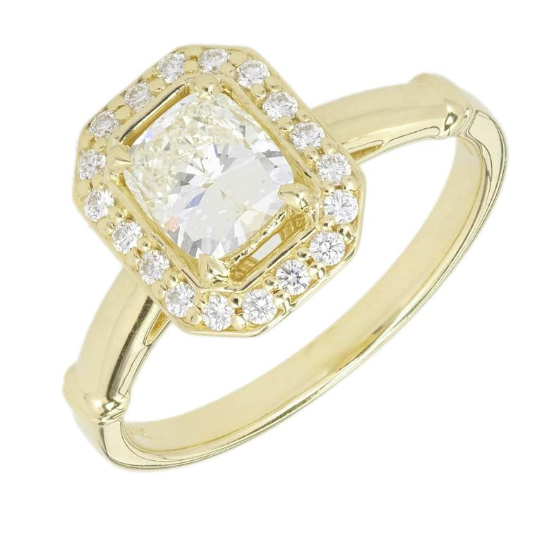 Peter Suchy Diamond Elongated Cushion Cut Halo Gold Engagement Ring For Sale
