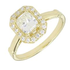 Peter Suchy Diamond Elongated Cushion Cut Halo Gold Engagement Ring