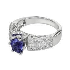 1.10 Carat Sapphire Diamond Gold Engagement Ring
