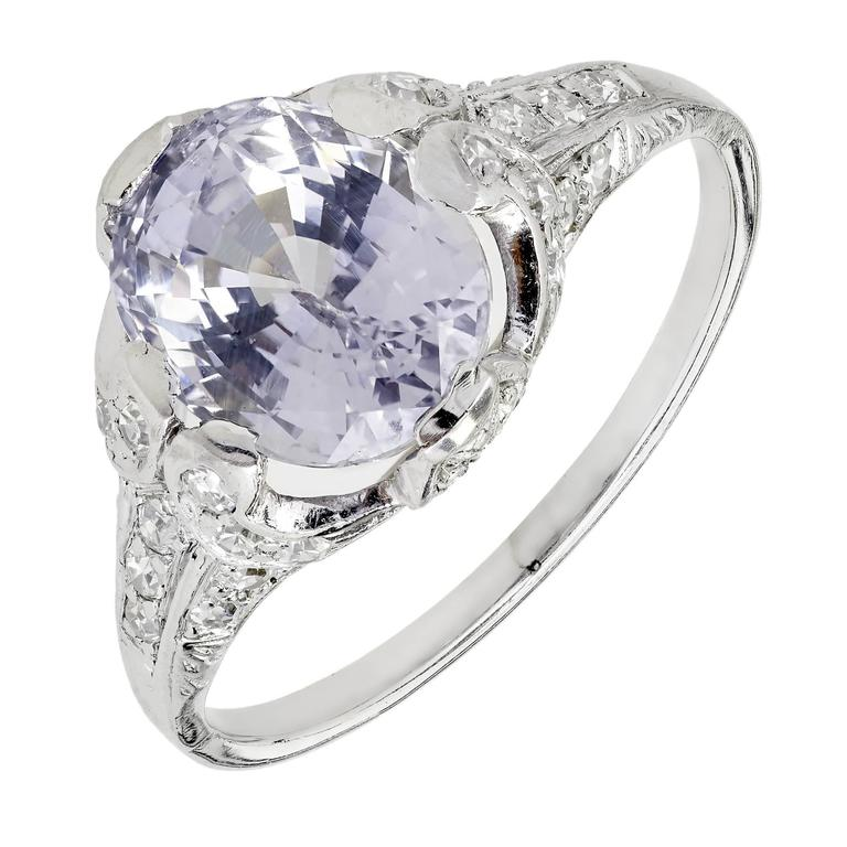 GIA Certified 3.45 Carat Violet Sapphire Diamond Platinum Engagement Ring
