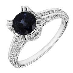 1.20 Carat Round Sapphire Micro Pavé Diamond Gold Engagement Ring