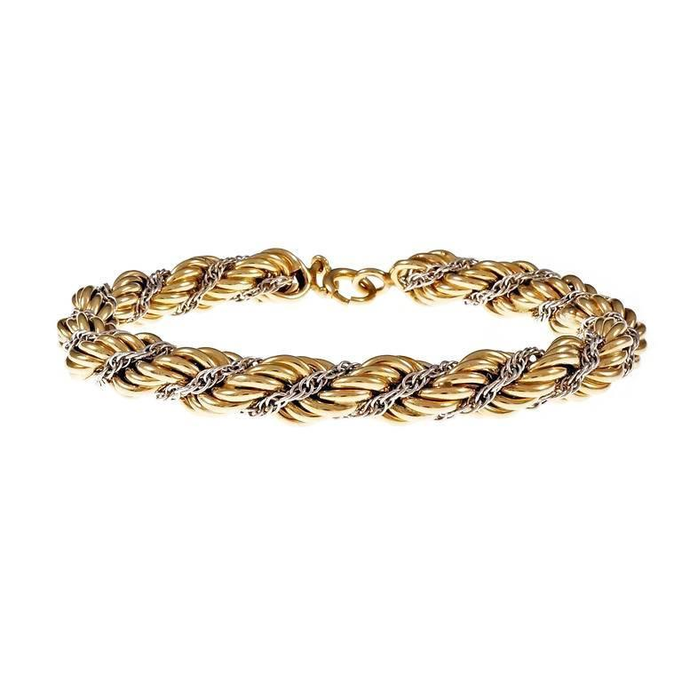 996adaeea31a Tiffany and Co. Braided Rope Chain Gold Bracelet at 1stdibs