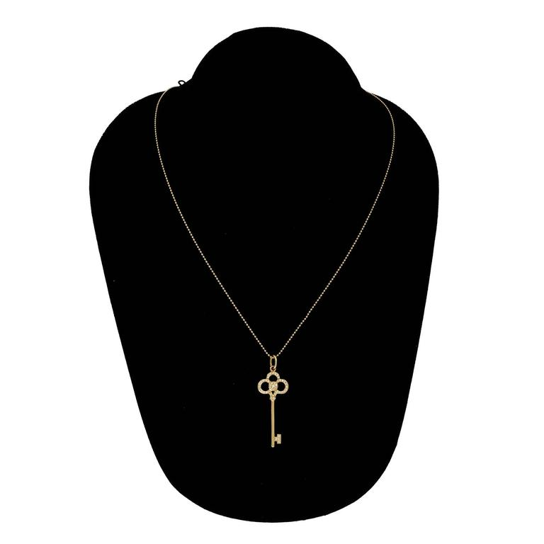 Tiffany & Co. Crown Key Diamond Gold Pendant Necklace 3