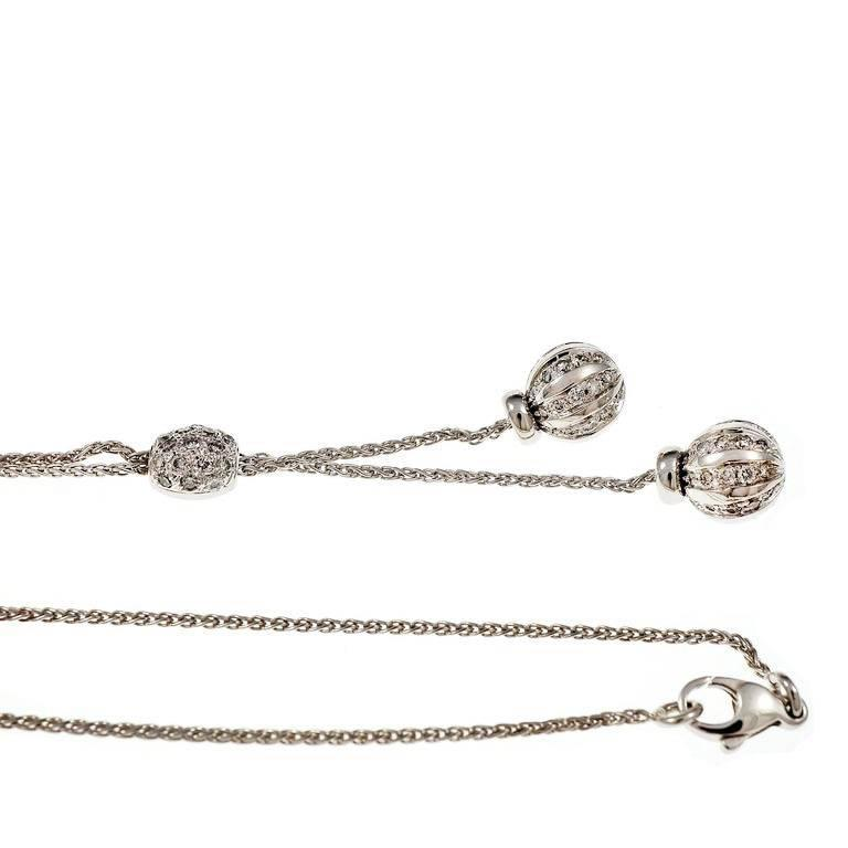 """Pave Diamond ball """"Y"""" necklace in 14k white gold with full cut Diamonds.  14k white gold 87 round full cut Diamonds, approx. total weight .87cts, H, SI 10.6 grams 10.6 grams Length: 20 inches – Width: 1.31mm – Depth: 1.31mm"""
