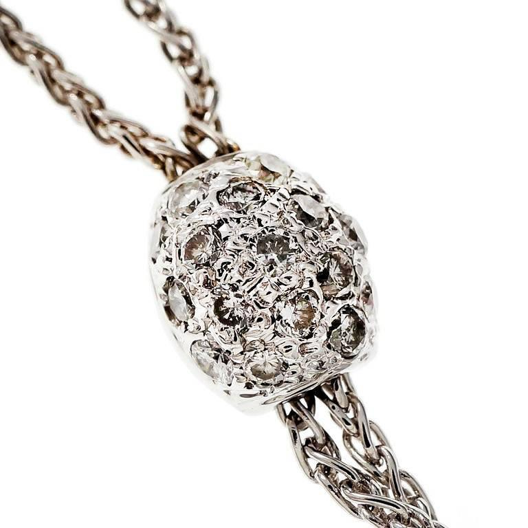 Pavé Diamond Ball Gold Y Drop Necklace In Good Condition For Sale In Stamford, CT