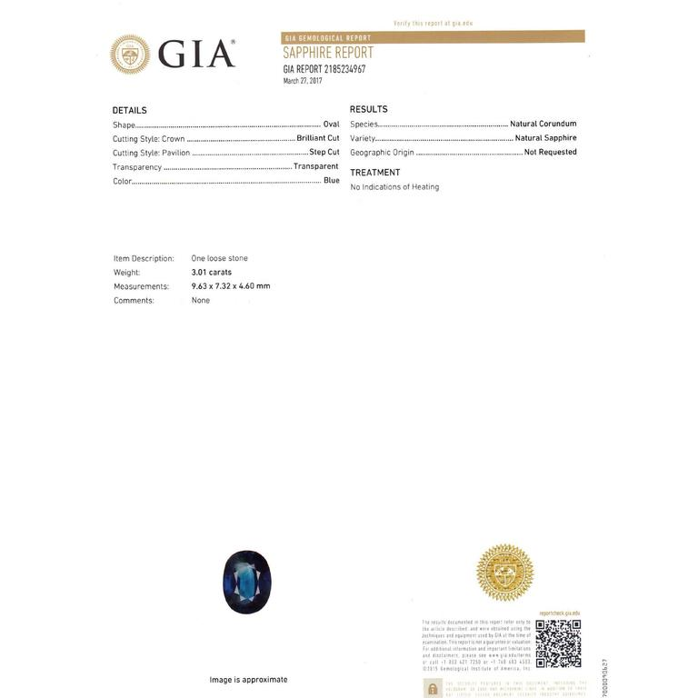 GIA Certified 3.01 Carat Oval Natural Sapphire Diamond Platinum Engagement Ring In Good Condition For Sale In Stamford, CT