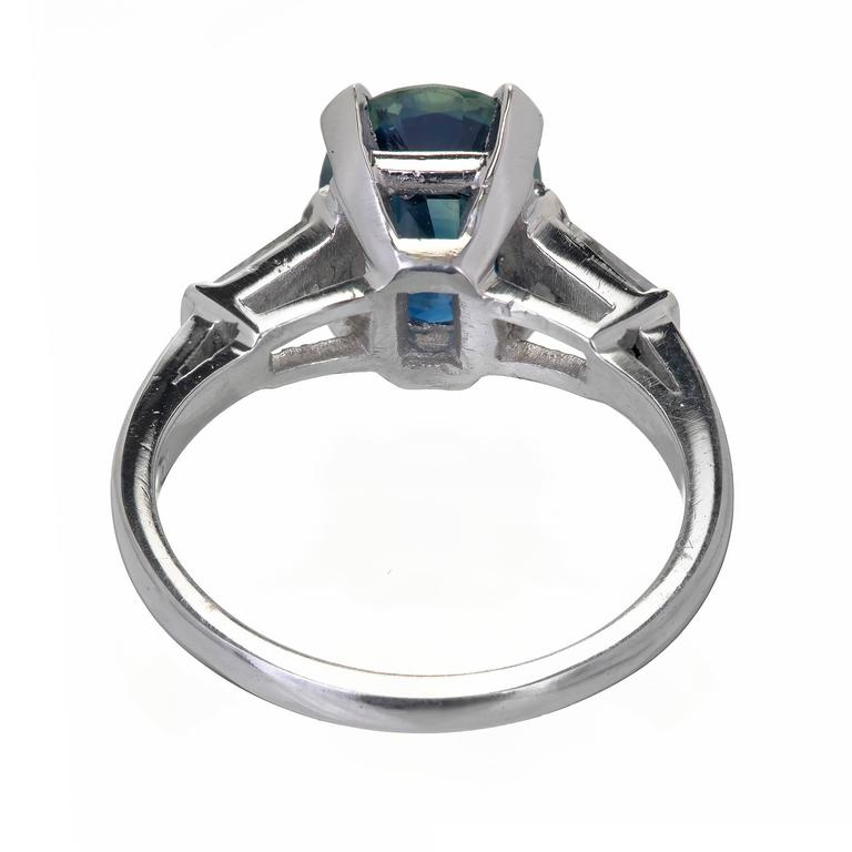 GIA Certified 3.01 Carat Oval Natural Sapphire Diamond Platinum Engagement Ring For Sale 1