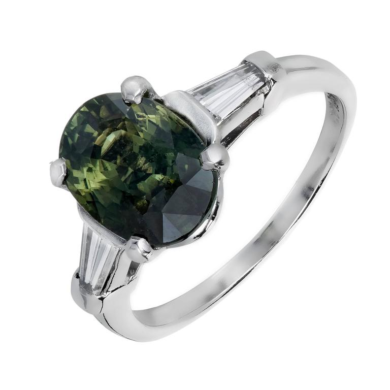 GIA Certified 4.05 Carat Sapphire Diamond Platinum Three-Stone Engagement Ring