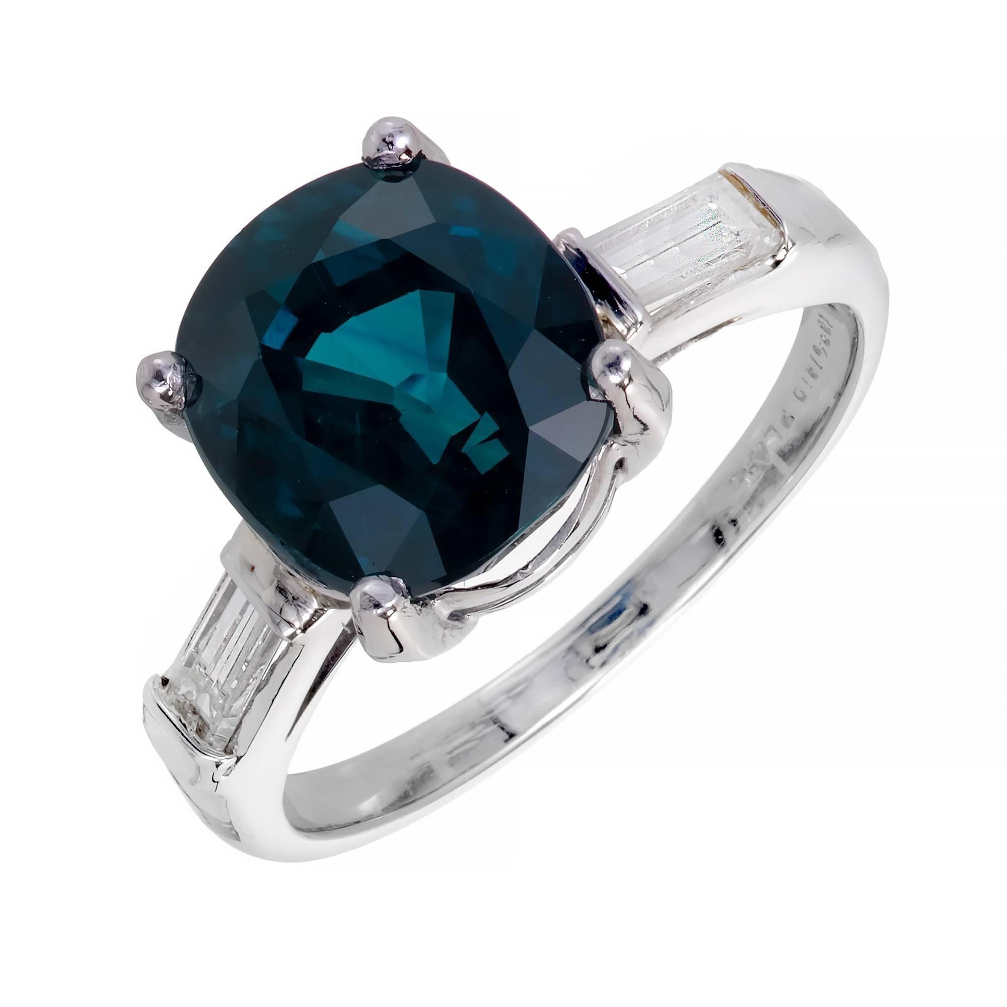 GIA Certified 6.07 Carat Sapphire Diamond Platinum Engagement Ring