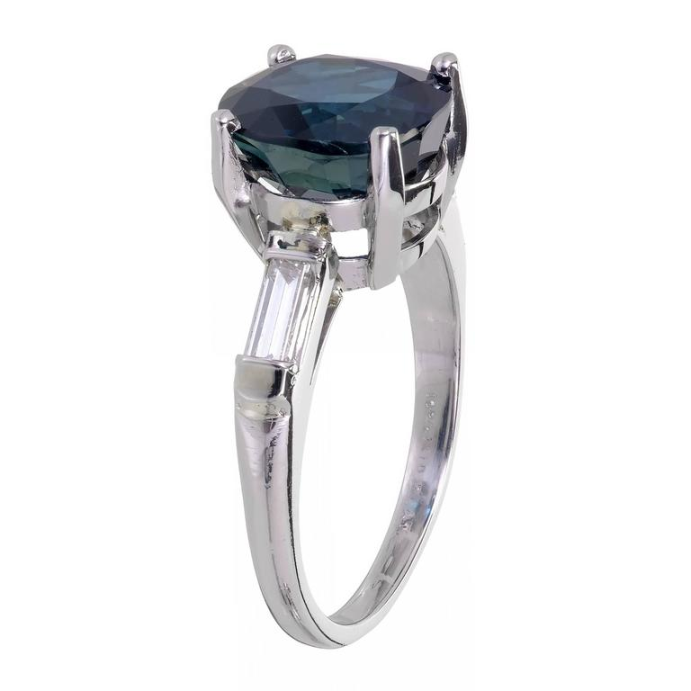 GIA Certified 6.07 Carat Sapphire Diamond Platinum Engagement Ring For Sale 1