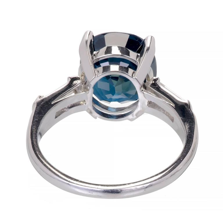 GIA Certified 6.07 Carat Sapphire Diamond Platinum Engagement Ring For Sale 3