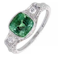 1930s 2.42 Carat Alexandrite Diamond Gold Platinum Filigree Engagement Ring