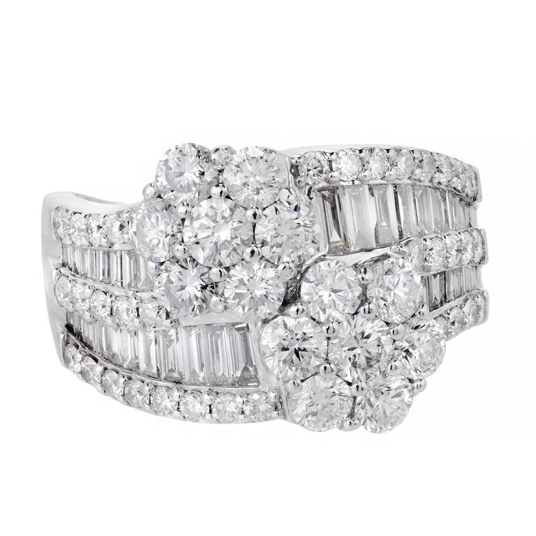 Diamond Cluster Bypass Cocktail Ring