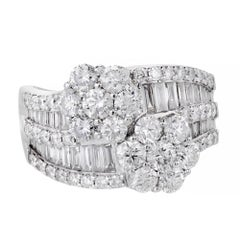 3.62 Carat Diamond Cluster Bypass White Gold Cocktail Ring