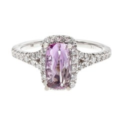 GIA Certified 1.44 Carat Pink Topaz Diamond Halo Gold Engagement Ring