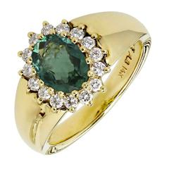 Alfred Butler Emerald Diamond Gold Cluster Cocktail Ring