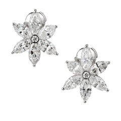 Peter Suchy Marquise Diamond Platinum Flower Earrings