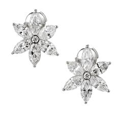 Peter Suchy Marquise Diamond Platinum Flower Earrings