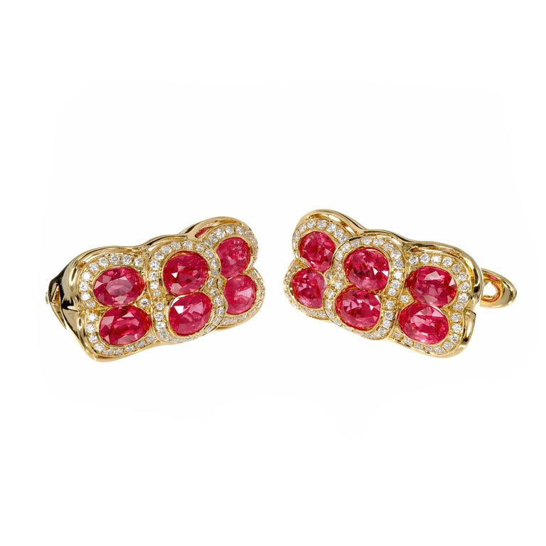 Spark Red Ruby Diamond Yellow Gold Dangle Earrings 4