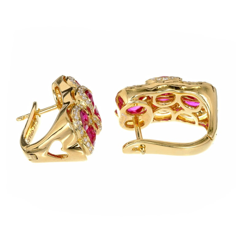 Spark Red Ruby Diamond Yellow Gold Dangle Earrings 6