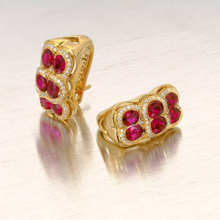 Spark Red Ruby Diamond Yellow Gold Dangle Earrings 2
