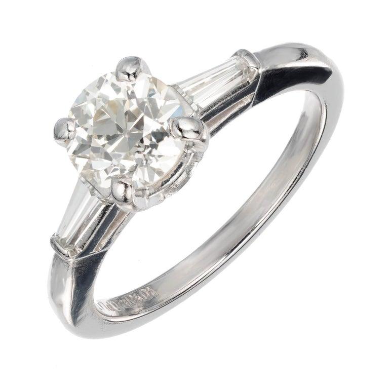 .90 Carat Old European Cut Diamond Platinum Three-Stone Engagement Ring