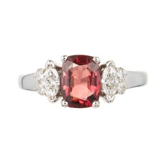Dana 1.39 Carat Orange Red Spinel Diamond Gold Three-Stone Engagement Ring