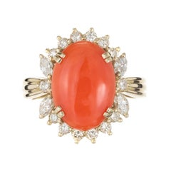 GIA Certified Natural Orange Coral Diamond Halo Gold Cocktail Ring