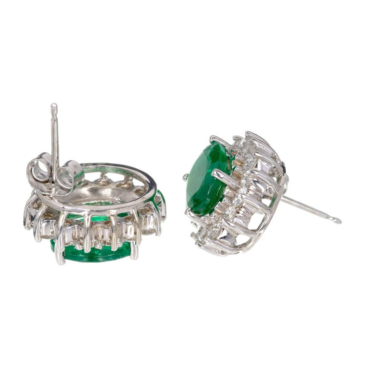 GIA Certified 3.25 Carat Oval Green Emerald Diamond Halo Gold Stud Earrings For Sale 1