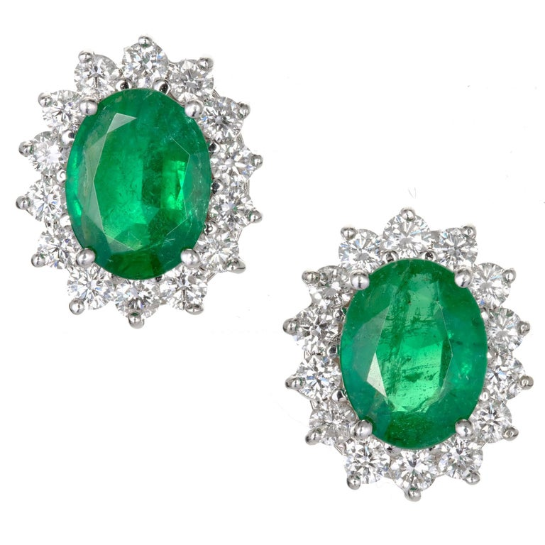 GIA Certified 3.25 Carat Oval Green Emerald Diamond Halo Gold Stud Earrings