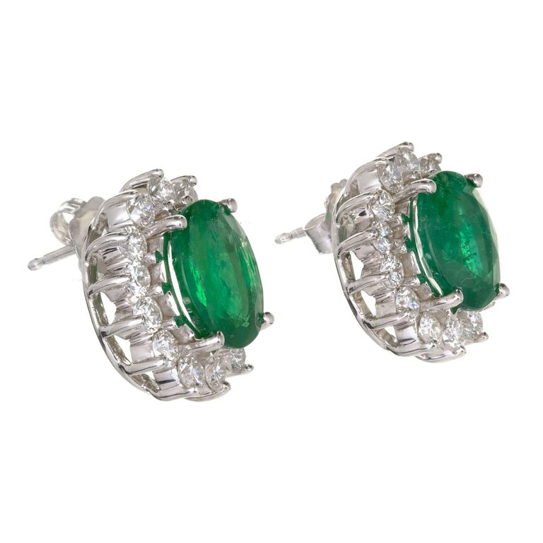 Emerald and diamond halo in a classic oval earring 18k white gold settings. Emeralds are surrounded by a halo of bright white diamonds. Top enhanced gem bright green color Emeralds natural oval brilliant and step cut, one minor clarity enhanced, one
