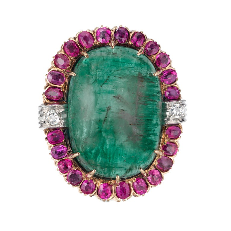 20.00 Carat Emerald Sapphire Diamond Gold Platinum Cocktail Ring