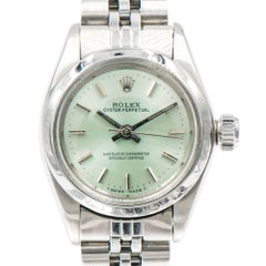 Rolex Ladies Stainless Steel Oyster Perpetual Custom Colored Dial Wristwatch