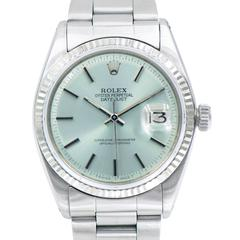 Rolex Stainless Steel Oyster Perpetual Datejust Custom Dial Self Wind Wristwatch
