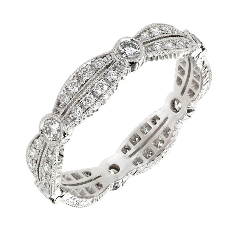Peter Suchy Diamond Platinum Double Row Eternity Band Ring