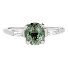 1.57 Carat Alexandrite Diamond Platinum Three-Stone Engagement Ring