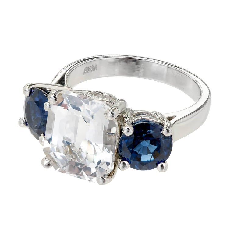 Peter Suchy GIA Certified 5.65 Carat Octagonal Sapphire Platinum Engagement Ring In Good Condition For Sale In Stamford, CT
