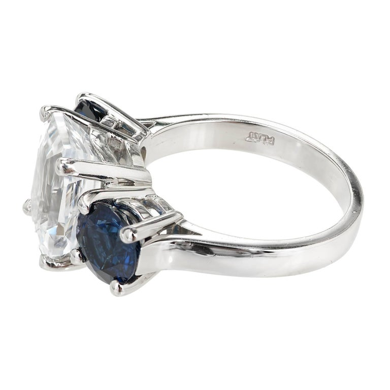 Women's Peter Suchy GIA Certified 5.65 Carat Octagonal Sapphire Platinum Engagement Ring For Sale