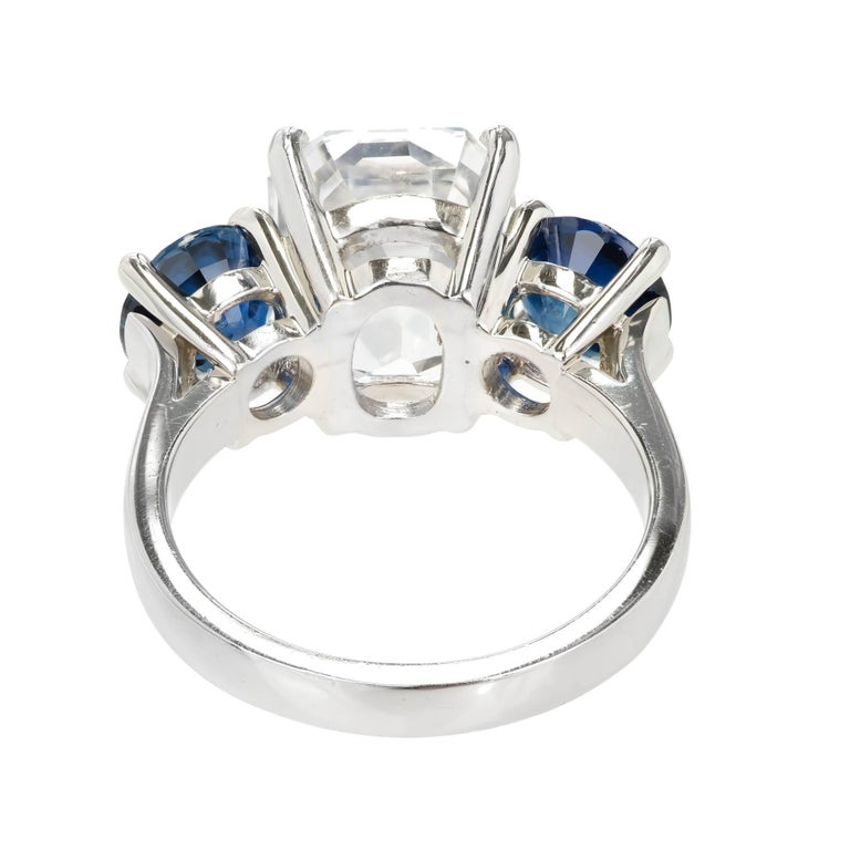 Peter Suchy GIA Certified 5.65 Carat Octagonal Sapphire Platinum Engagement Ring For Sale 2