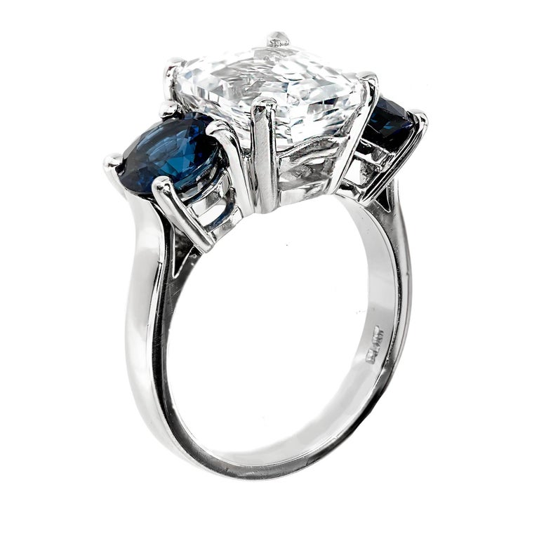 Peter Suchy GIA Certified 5.65 Carat Octagonal Sapphire Platinum Engagement Ring For Sale 3