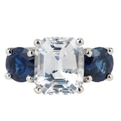 Peter Suchy GIA Certified 5.65 Carat Octagonal Sapphire Platinum Engagement Ring