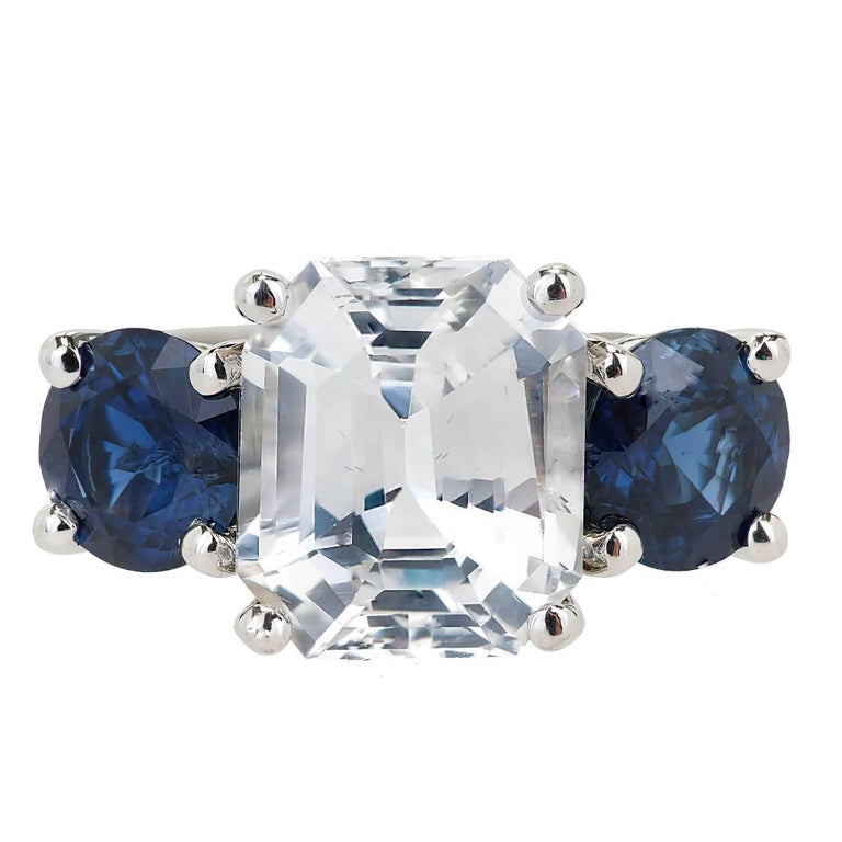 Peter Suchy GIA Certified 5.65 Carat Octagonal Sapphire Platinum Engagement Ring For Sale