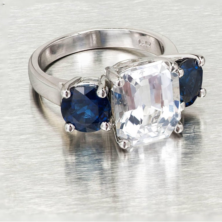 Peter Suchy GIA Certified 5.65 Carat Octagonal Sapphire Platinum Engagement Ring For Sale 6
