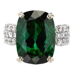 19.30 Carat Green Tourmaline Diamond Gold Cocktail Ring
